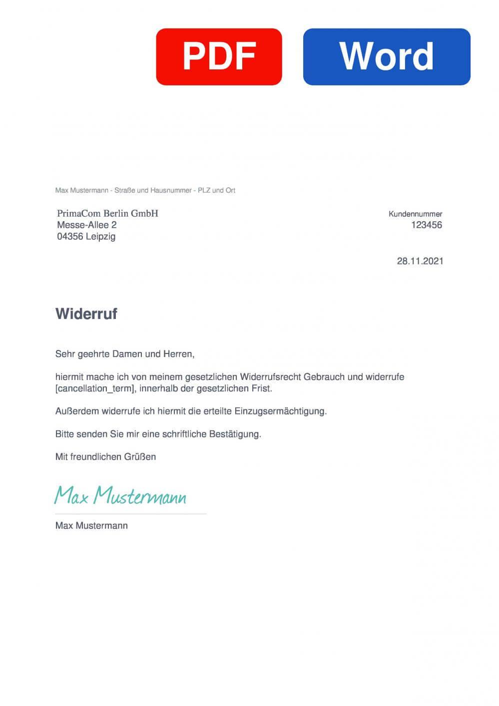 primacom Muster Vorlage für Wiederrufsschreiben