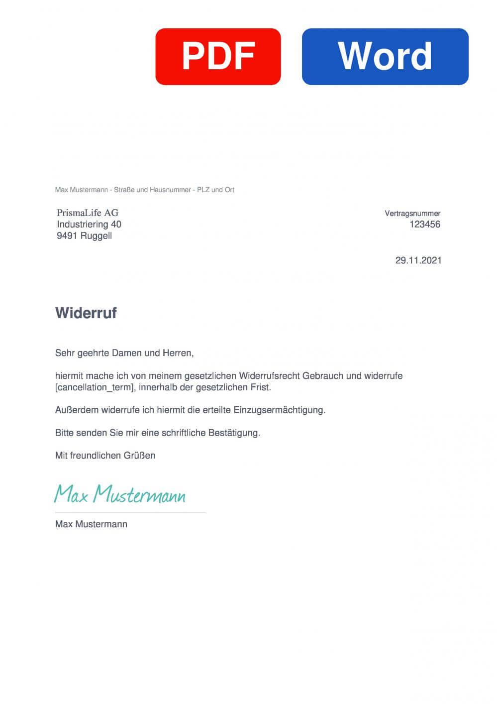 PrismaLife Muster Vorlage für Wiederrufsschreiben
