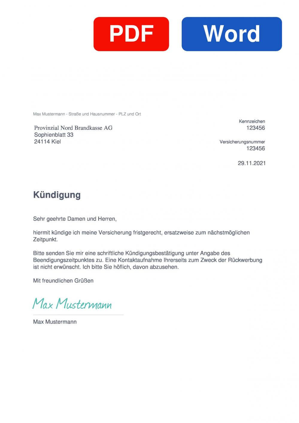 Provinzial Nord KFZ-Versicherung Muster Vorlage für Kündigungsschreiben