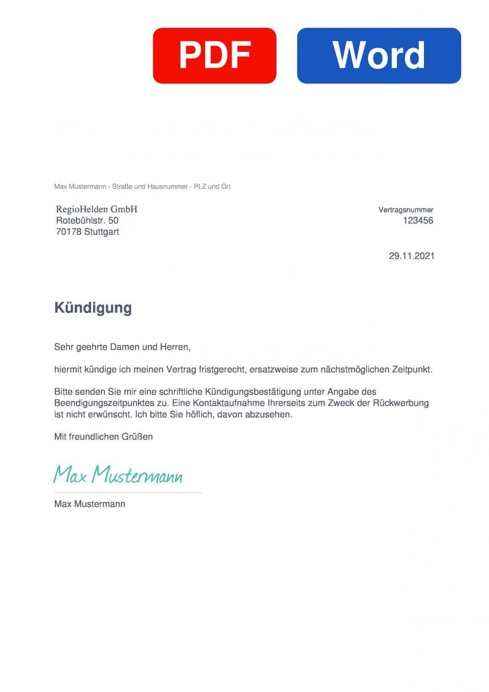 RegioHelden Muster Vorlage für Kündigungsschreiben