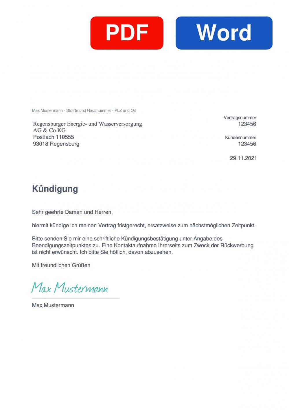 REWAG Muster Vorlage für Kündigungsschreiben