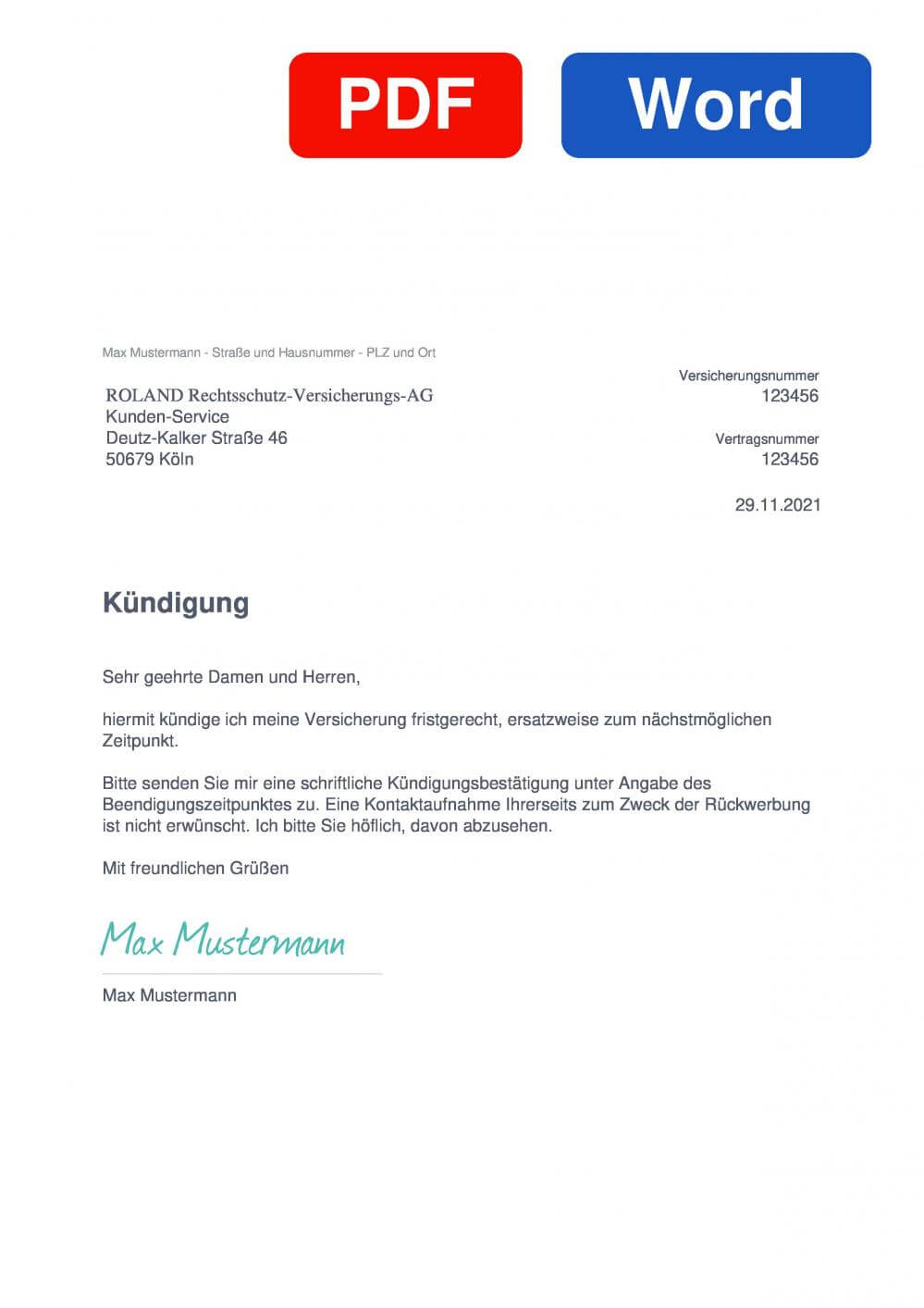 Roland Versicherung Muster Vorlage für Kündigungsschreiben