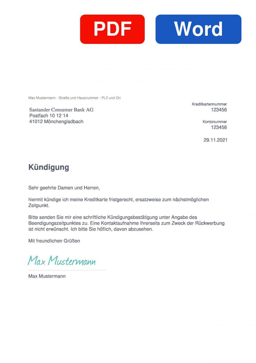 Santander CleverCard Muster Vorlage für Kündigungsschreiben