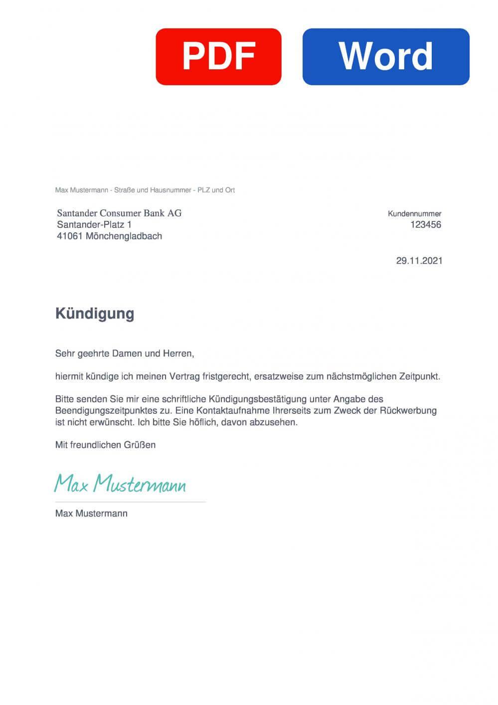 Santander Muster Vorlage für Kündigungsschreiben