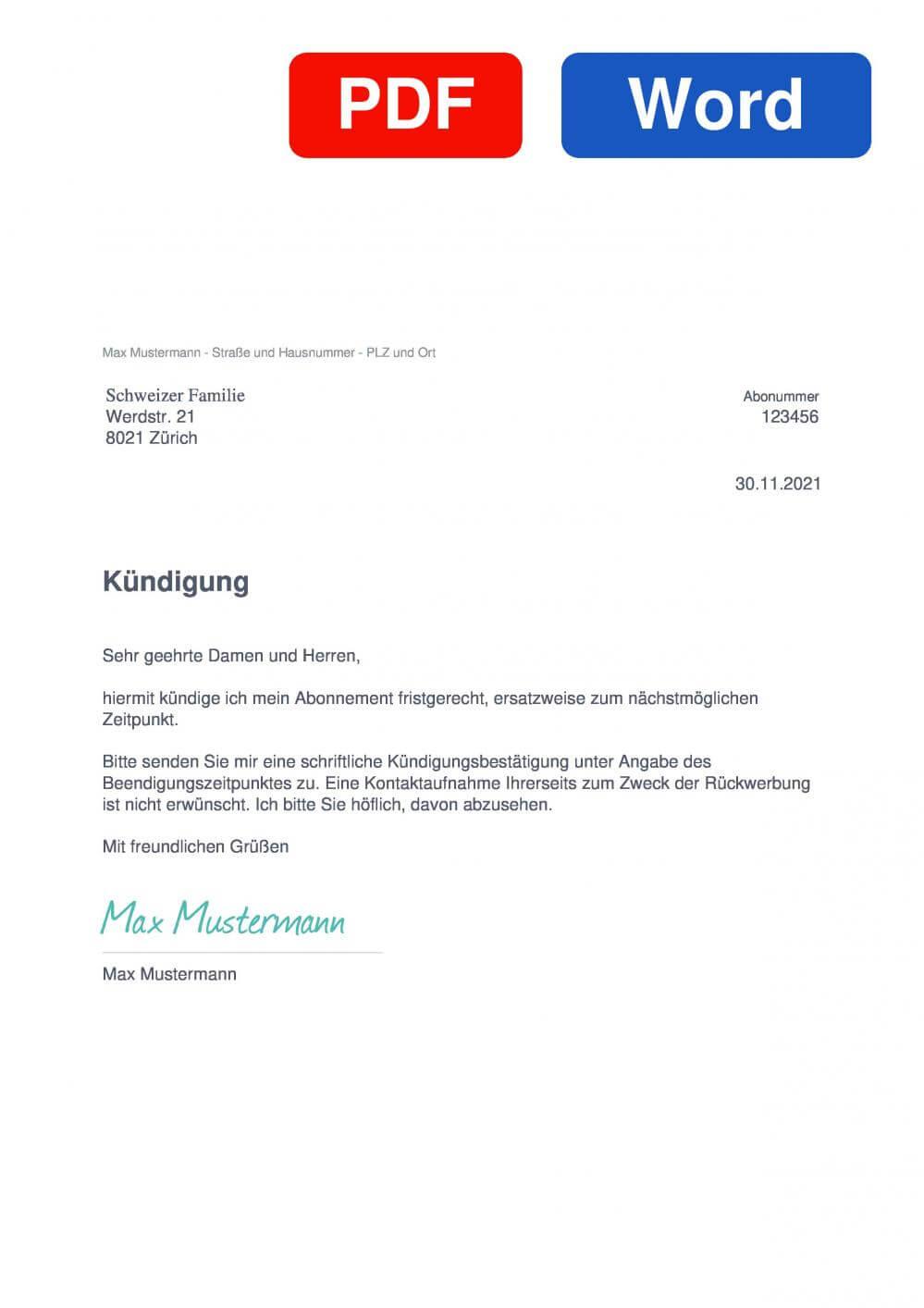 Schweizer Familie Muster Vorlage für Kündigungsschreiben
