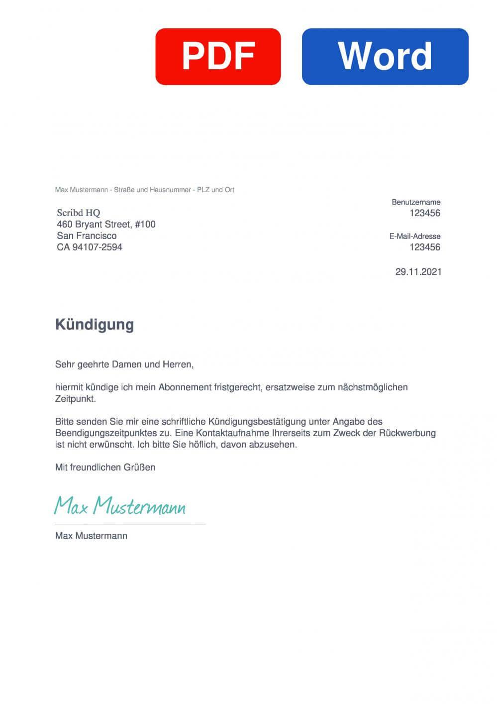 Scribd Muster Vorlage für Kündigungsschreiben