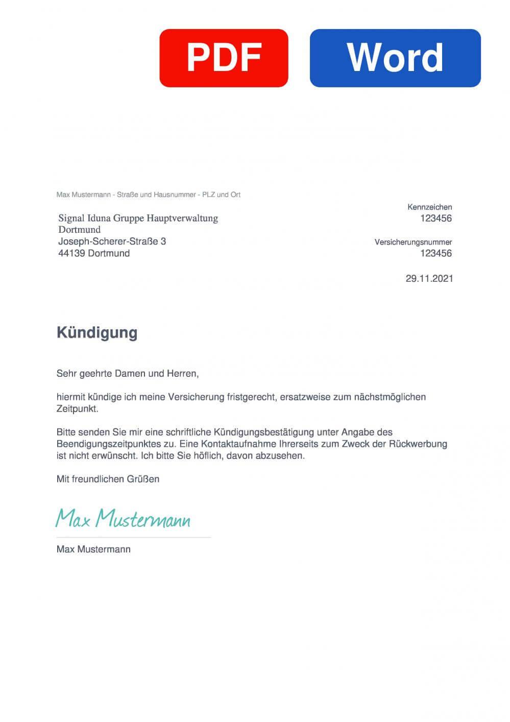 SIGNAL IDUNA KFZ-Versicherung Muster Vorlage für Kündigungsschreiben