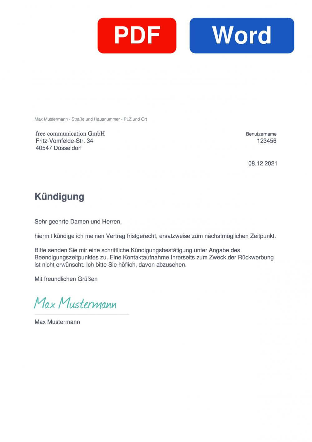 single.de Muster Vorlage für Kündigungsschreiben