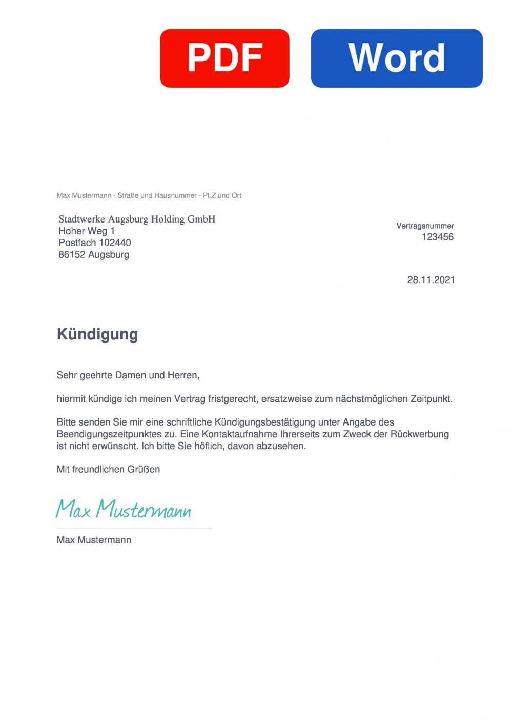 Stadtwerke Augsburg Muster Vorlage für Kündigungsschreiben