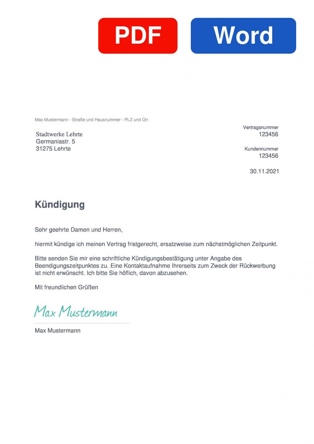 Stadtwerke Lehrte Muster Vorlage für Kündigungsschreiben