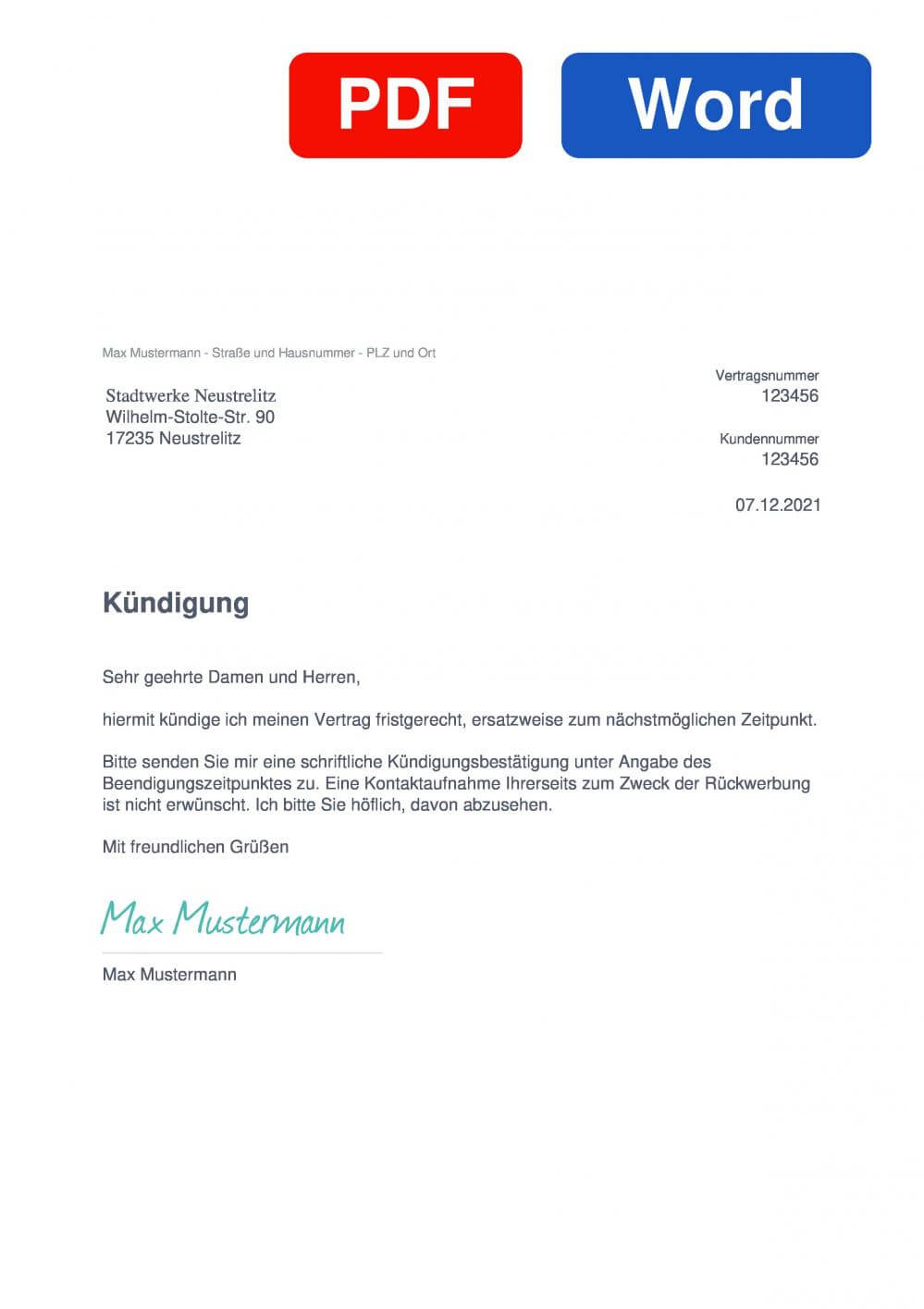 Stadtwerke Neustrelitz Muster Vorlage für Kündigungsschreiben