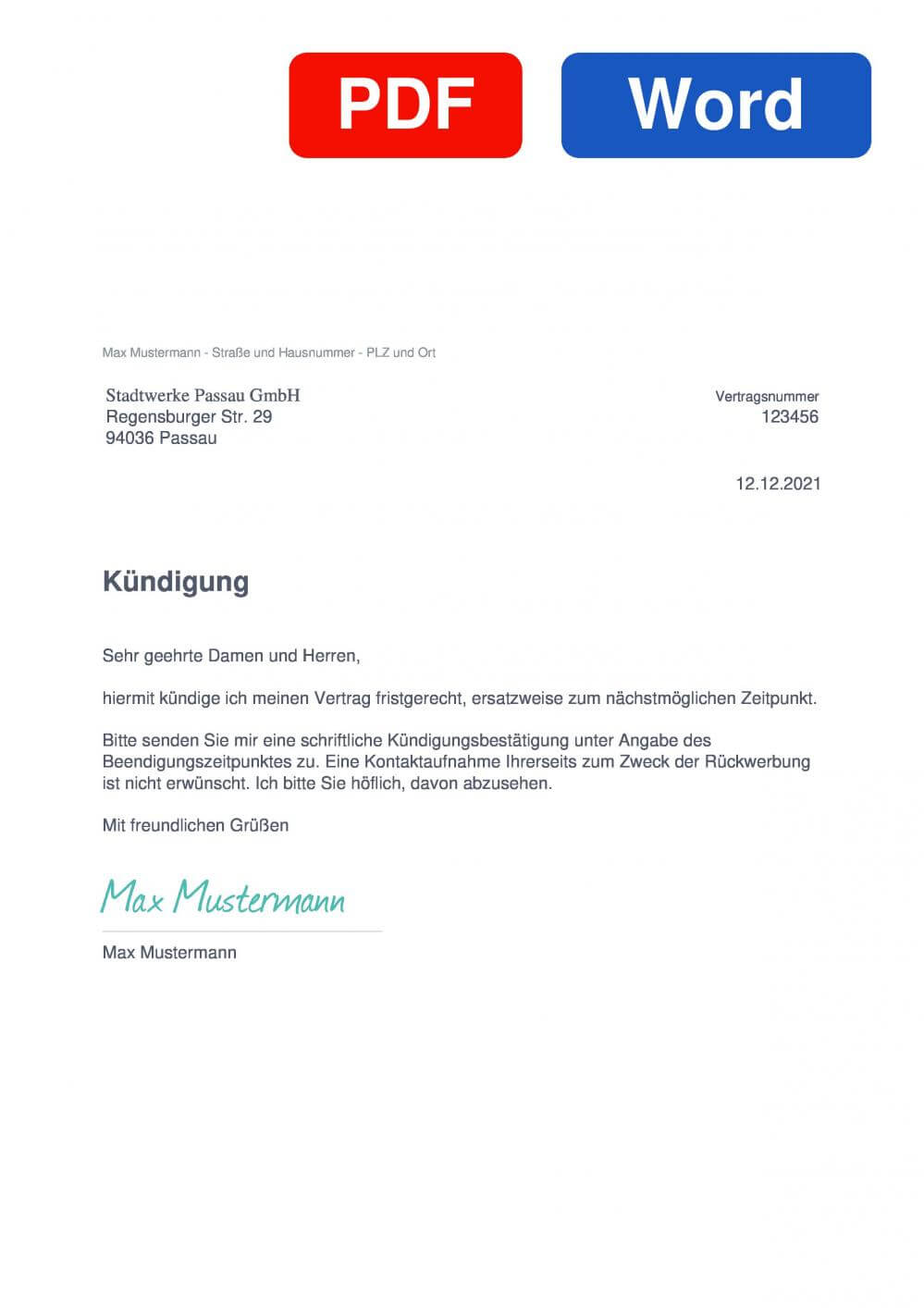 Stadtwerke Passau Muster Vorlage für Kündigungsschreiben