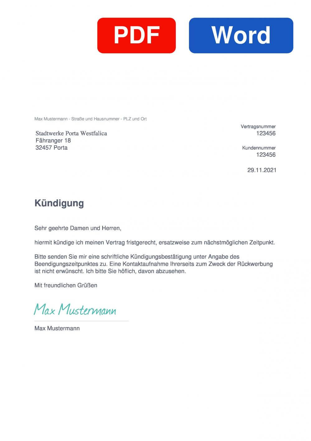 Stadtwerke Porta Westfalica Muster Vorlage für Kündigungsschreiben