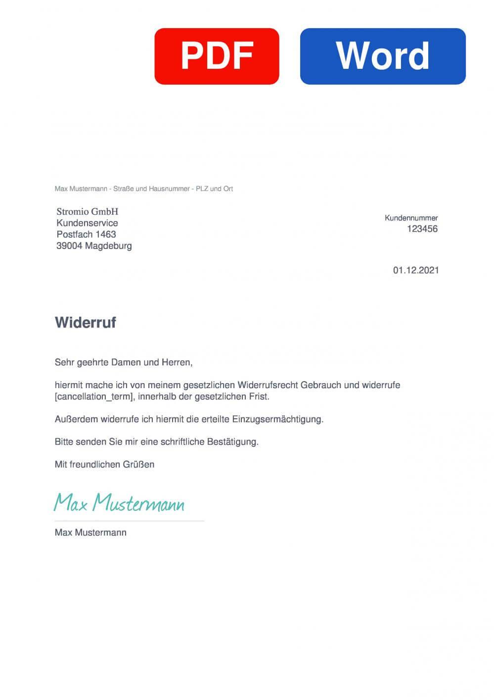 Stromio Muster Vorlage für Wiederrufsschreiben
