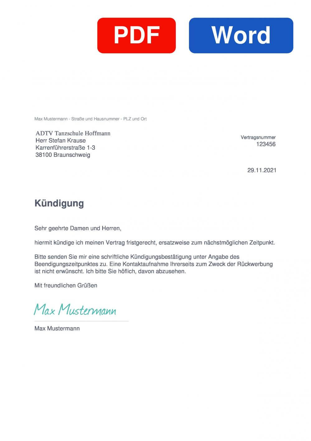 Tanzschule Hoffmann Muster Vorlage für Kündigungsschreiben