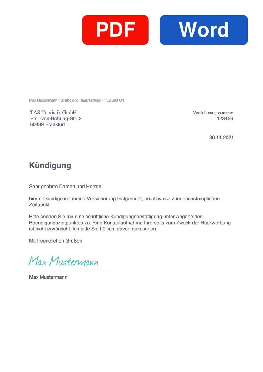 TAS Reiseschutz Muster Vorlage für Kündigungsschreiben