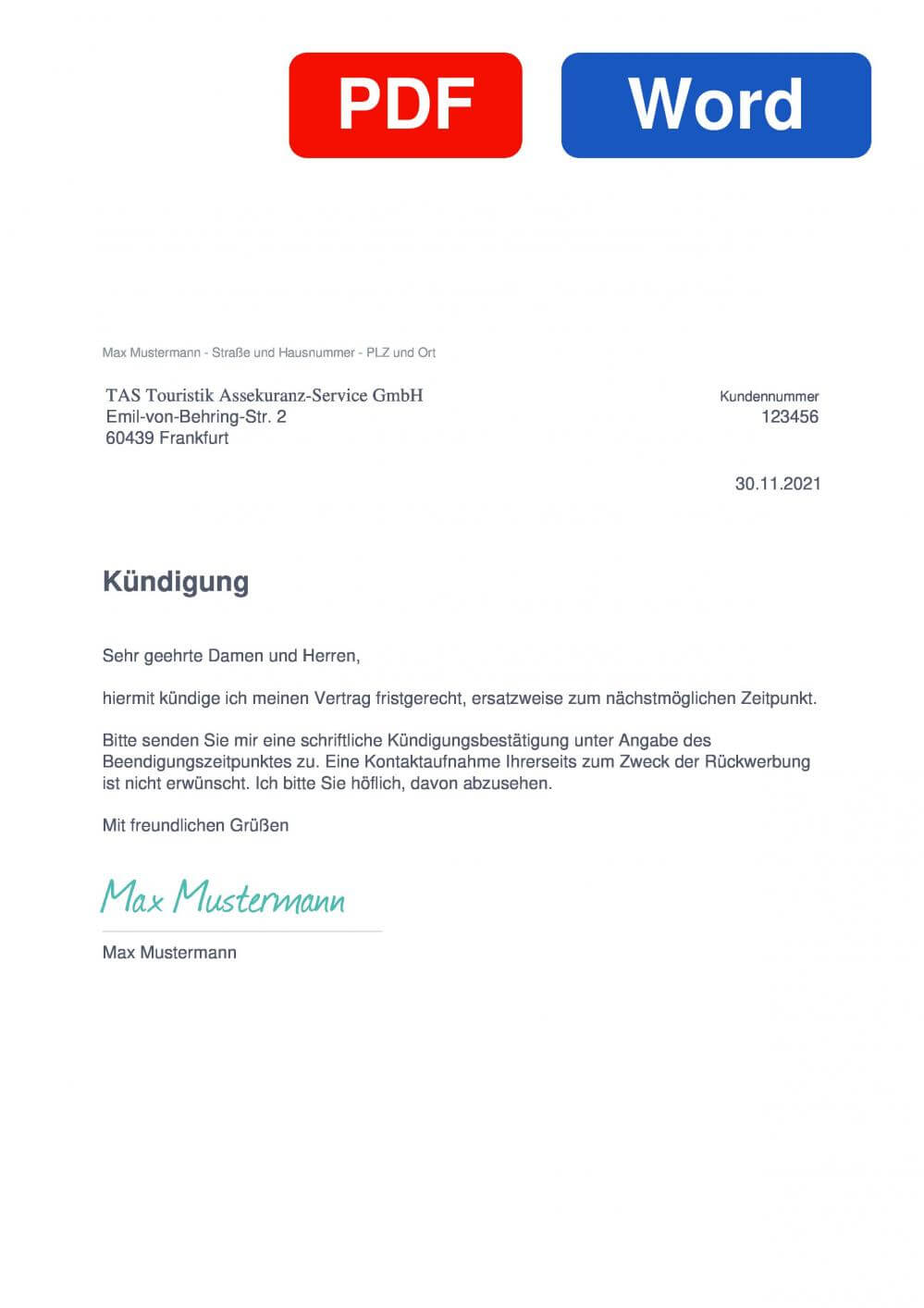 TAS Reiseversicherung Muster Vorlage für Kündigungsschreiben
