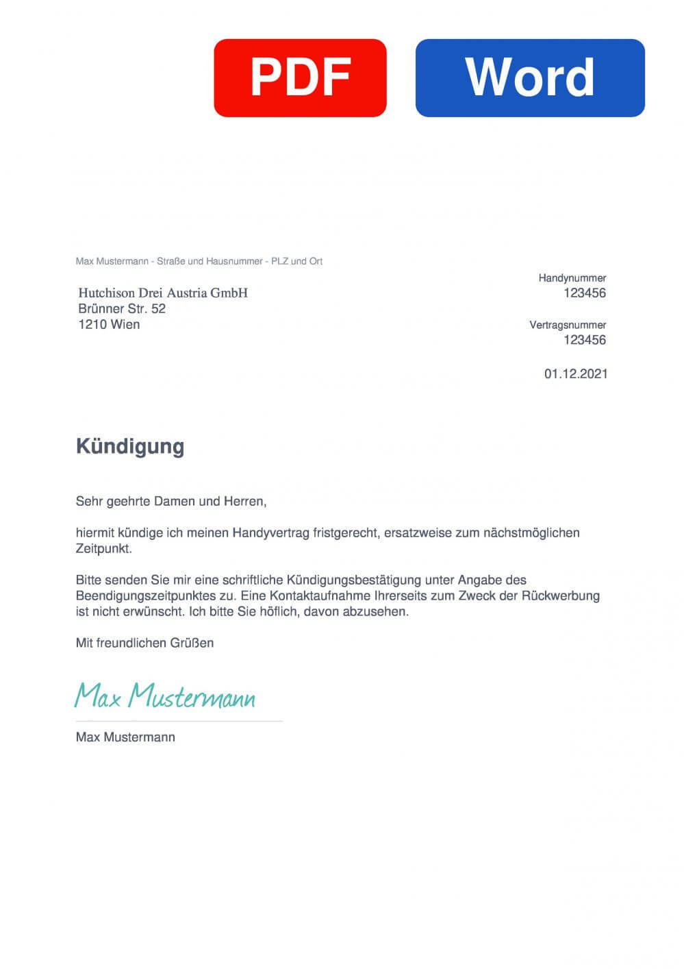 Tele2 Österreich Muster Vorlage für Kündigungsschreiben