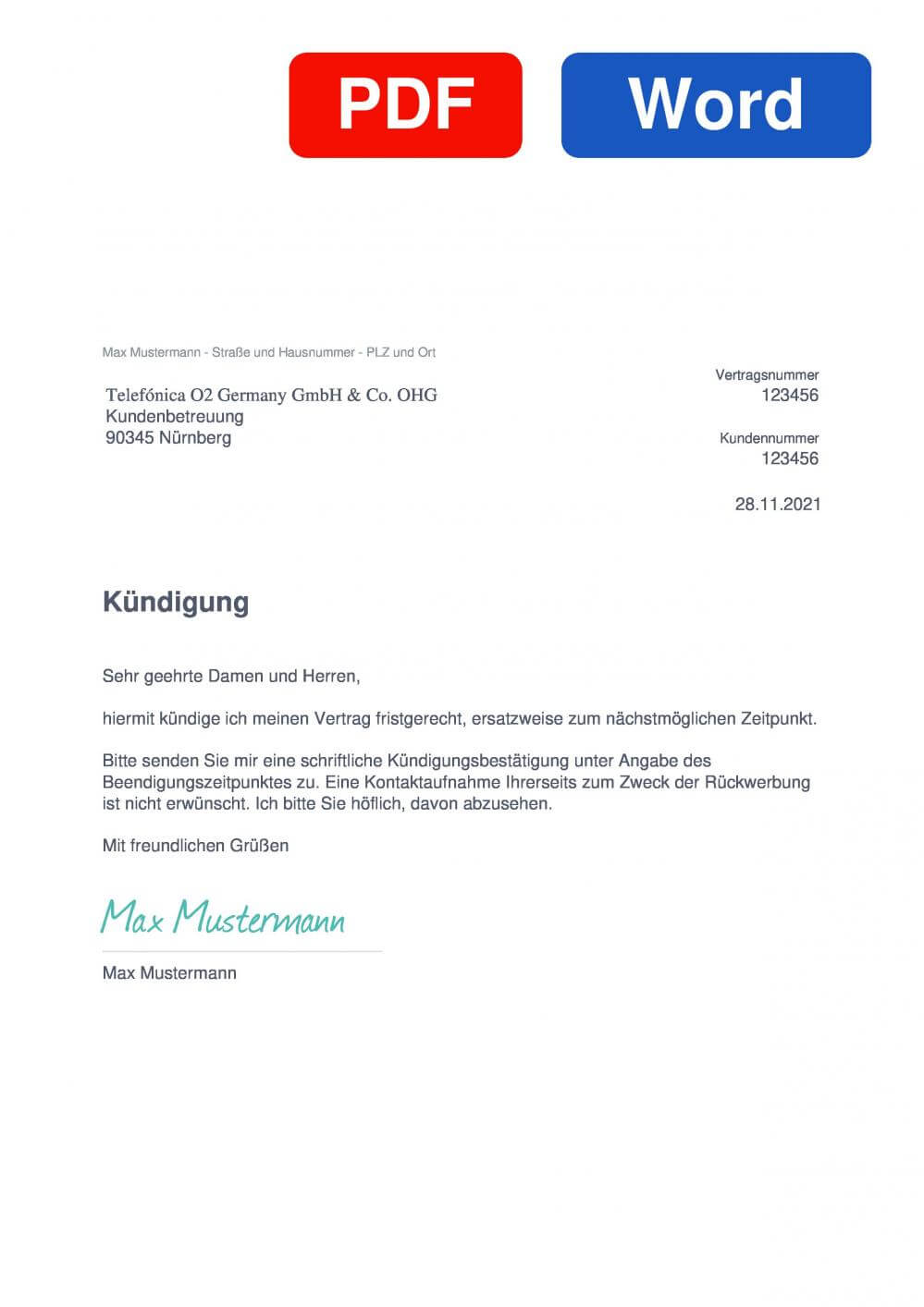 Telefónica Germany Muster Vorlage für Kündigungsschreiben