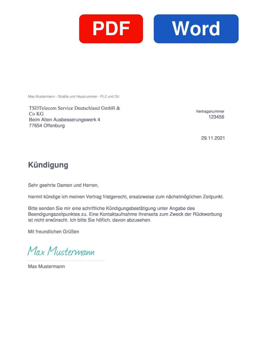 TSD telecom service deutschland  Muster Vorlage für Kündigungsschreiben