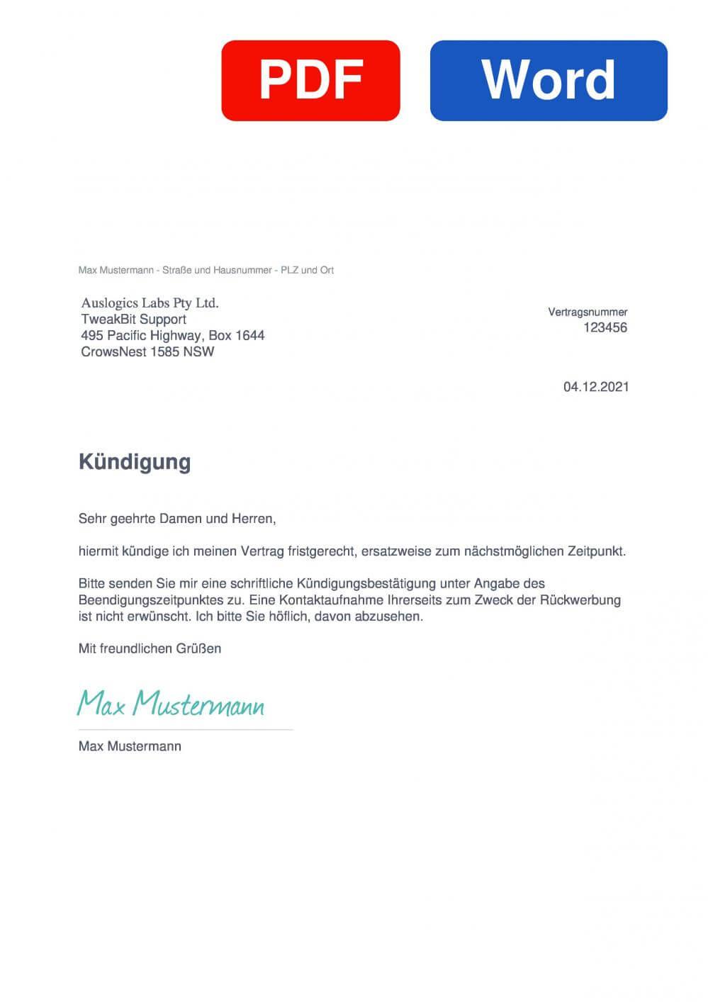 TweakBit Muster Vorlage für Kündigungsschreiben