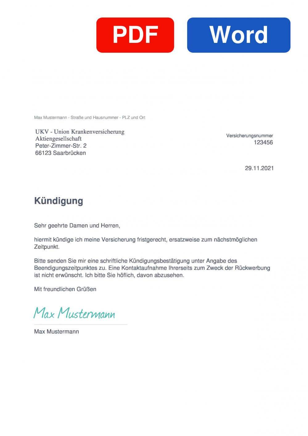 UKV Muster Vorlage für Kündigungsschreiben