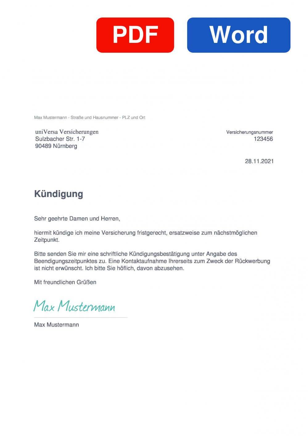 uniVersa Versicherung Muster Vorlage für Kündigungsschreiben