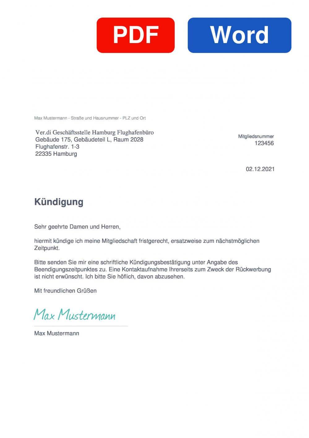 Verdi Hamburg Flughafenbüro Muster Vorlage für Kündigungsschreiben