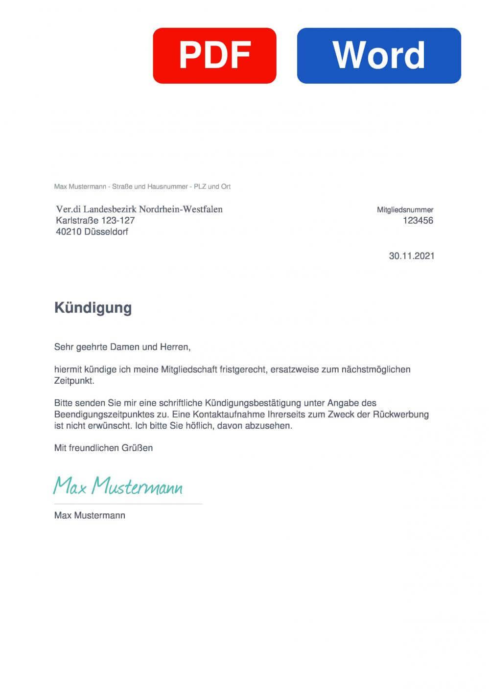 Verdi Landesbezirk Nordrhein-Westfalen Muster Vorlage für Kündigungsschreiben