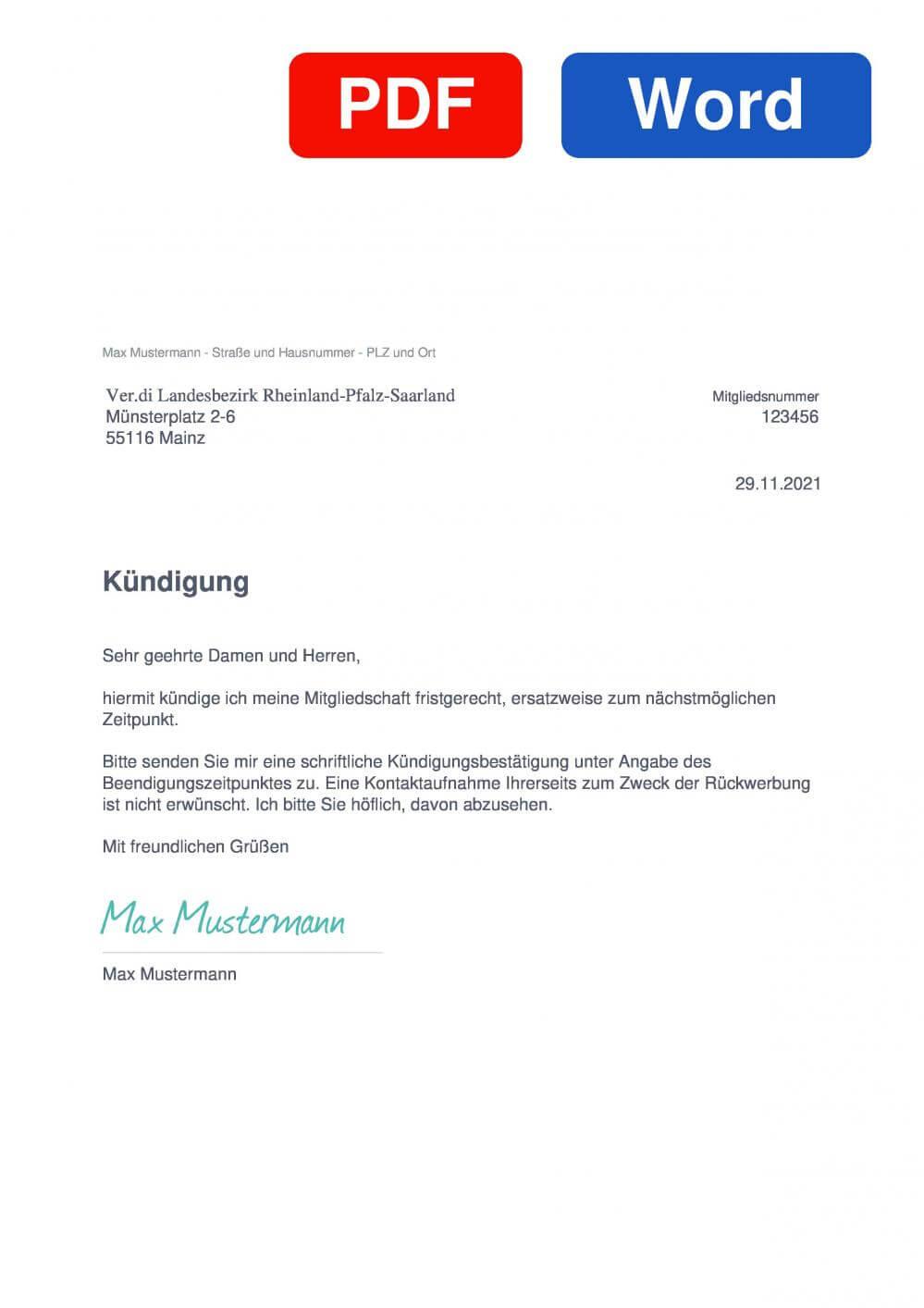 Verdi Landesbezirk Rheinland-Pfalz-Saarland Muster Vorlage für Kündigungsschreiben