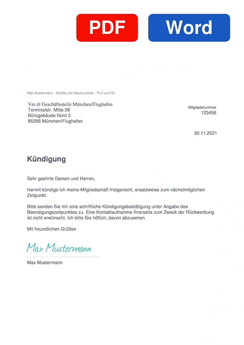 Verdi München/Flughafen Muster Vorlage für Kündigungsschreiben