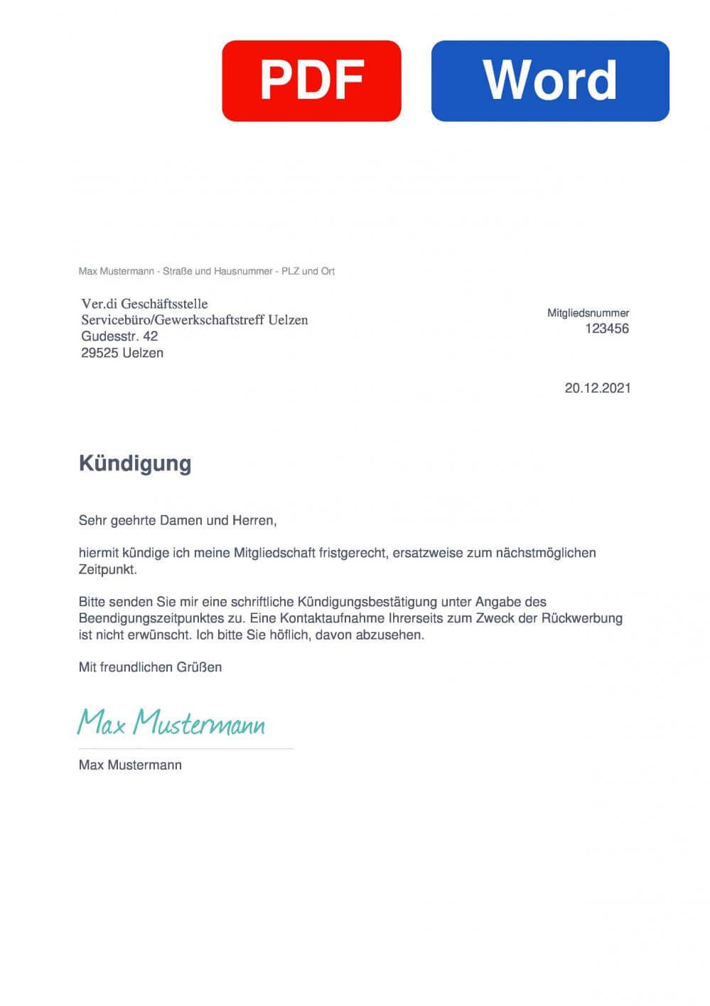 Verdi Servicebüro/Gewerkschaftstreff Uelzen Muster Vorlage für Kündigungsschreiben