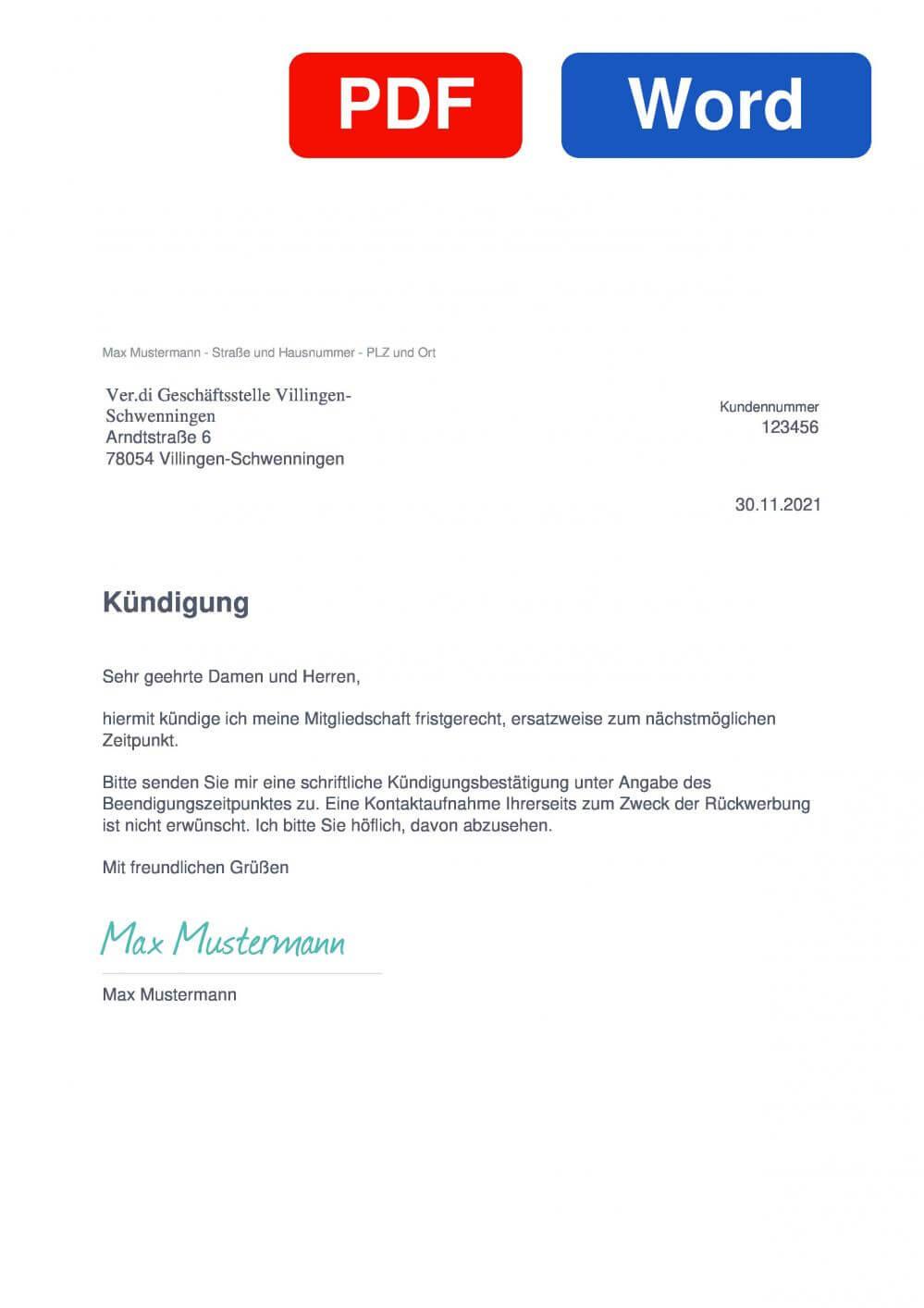 Verdi Villingen-Schwenningen Muster Vorlage für Kündigungsschreiben