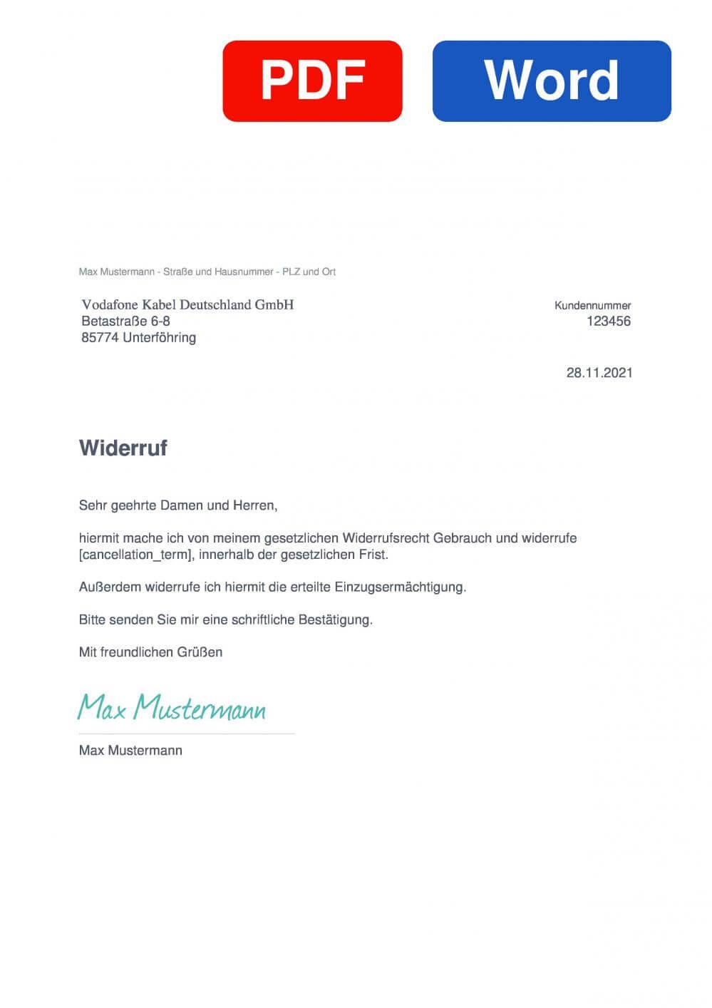 Vodafone Kabel Deutschland Muster Vorlage für Wiederrufsschreiben