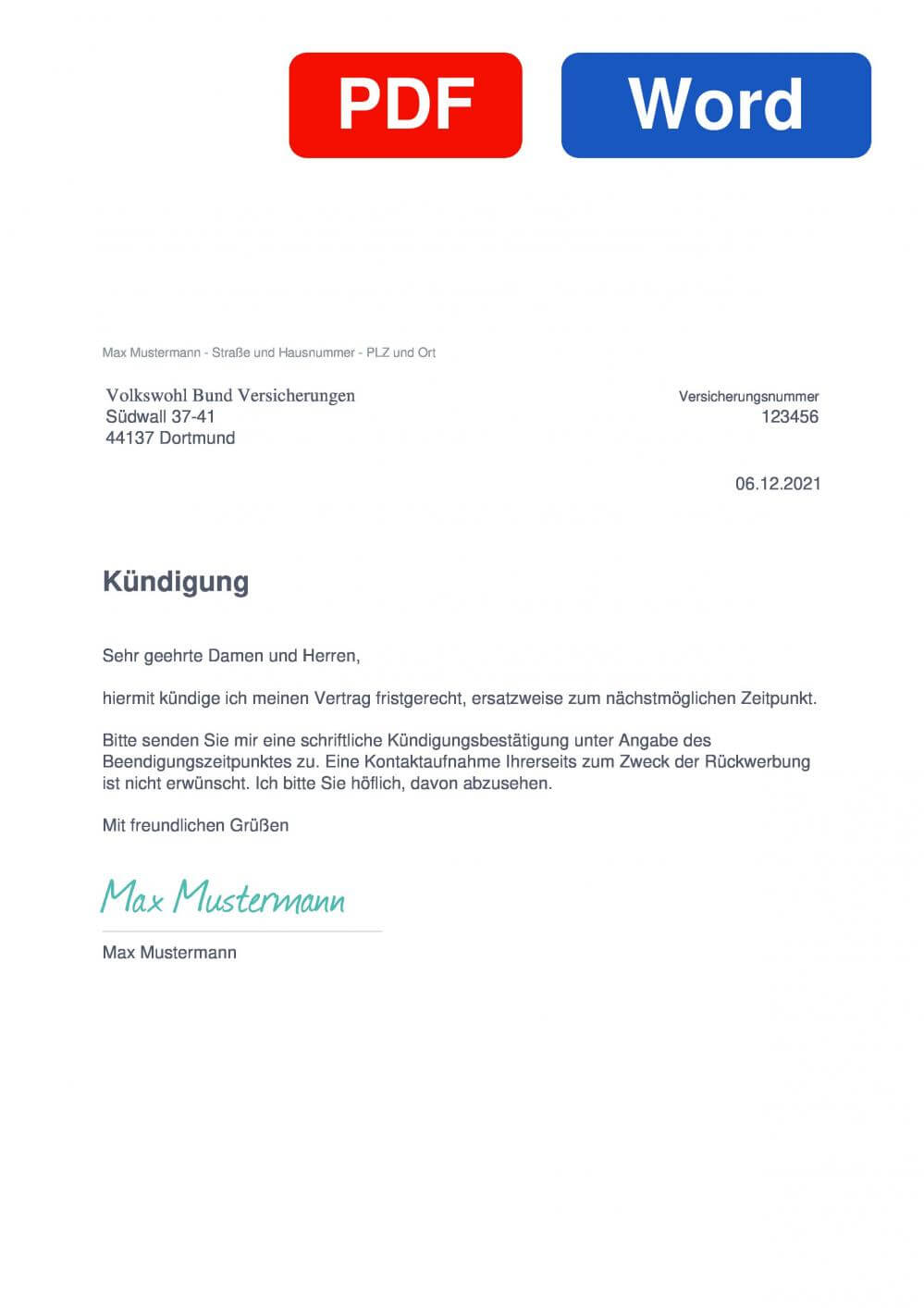 Volkswohl Bund Berufsunfähigkeitsversicherung Muster Vorlage für Kündigungsschreiben