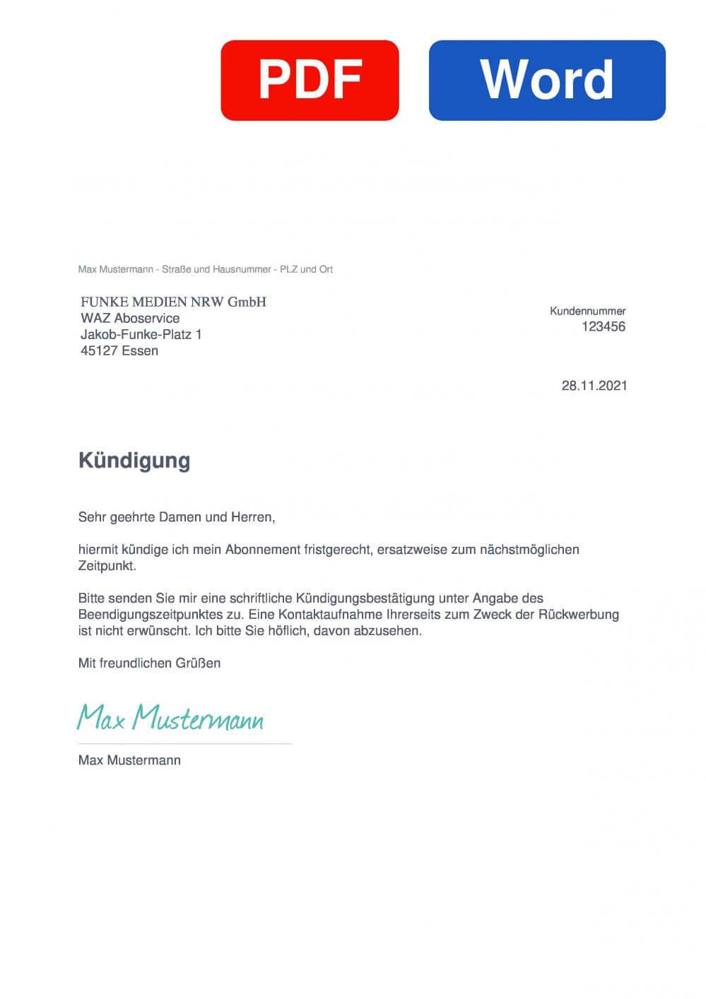 WAZ - Westdeutsche Allgemeine Zeitung Muster Vorlage für Kündigungsschreiben