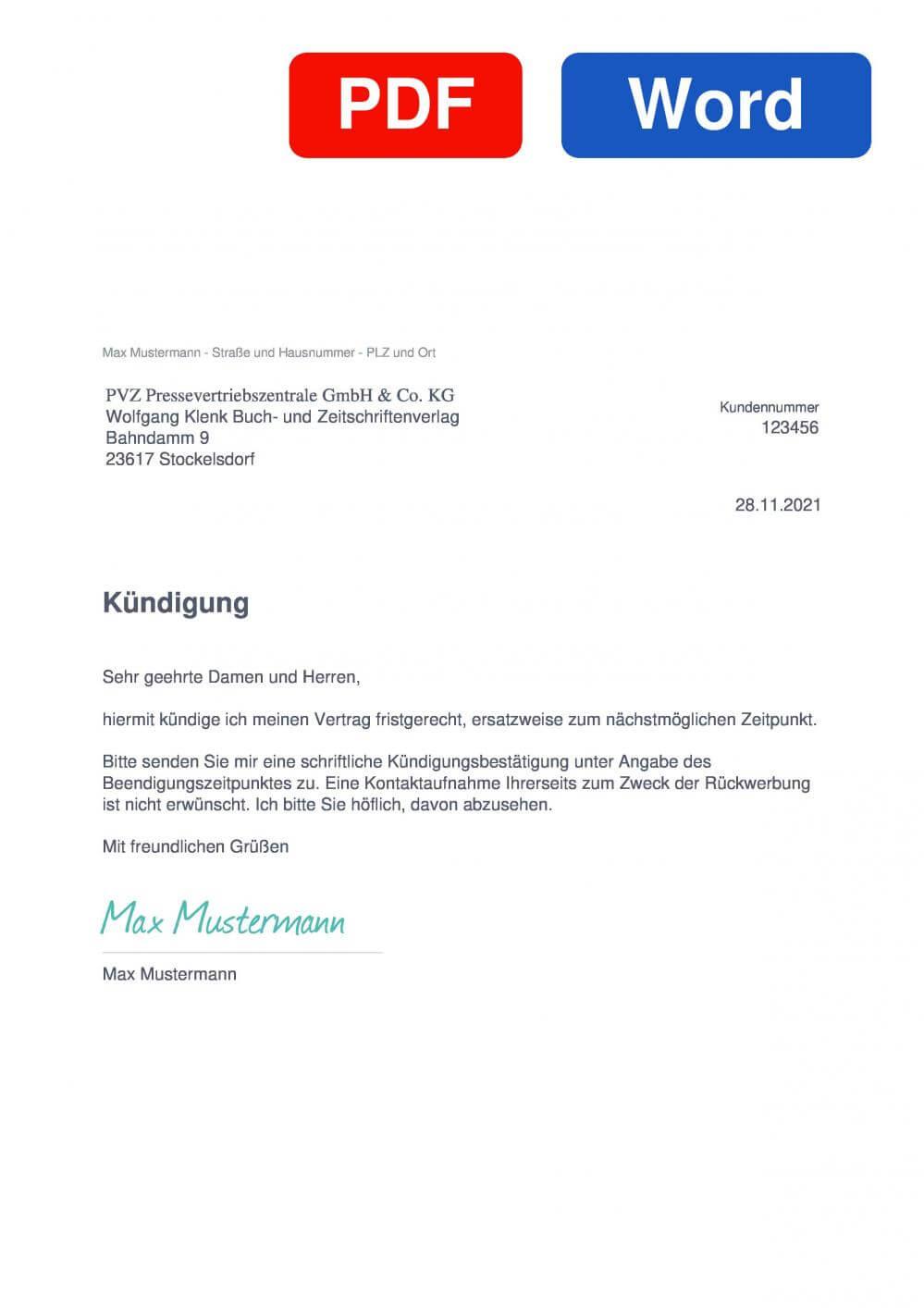 Wolfgang Klenk Abonnentenverwaltung Muster Vorlage für Kündigungsschreiben