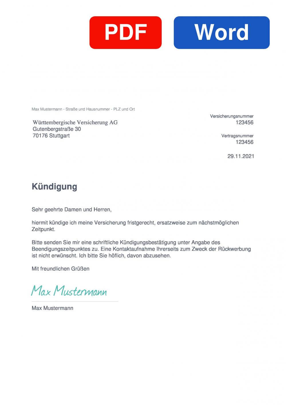 Württembergische Hausratversicherung Muster Vorlage für Kündigungsschreiben