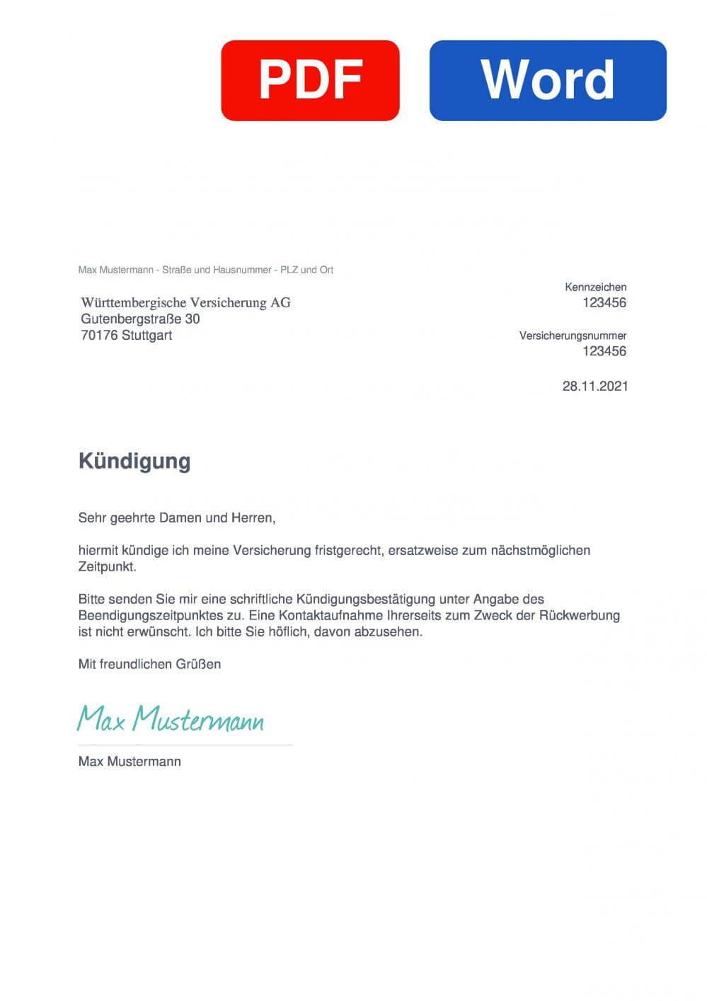 Württembergische KFZ-Versicherung Muster Vorlage für Kündigungsschreiben