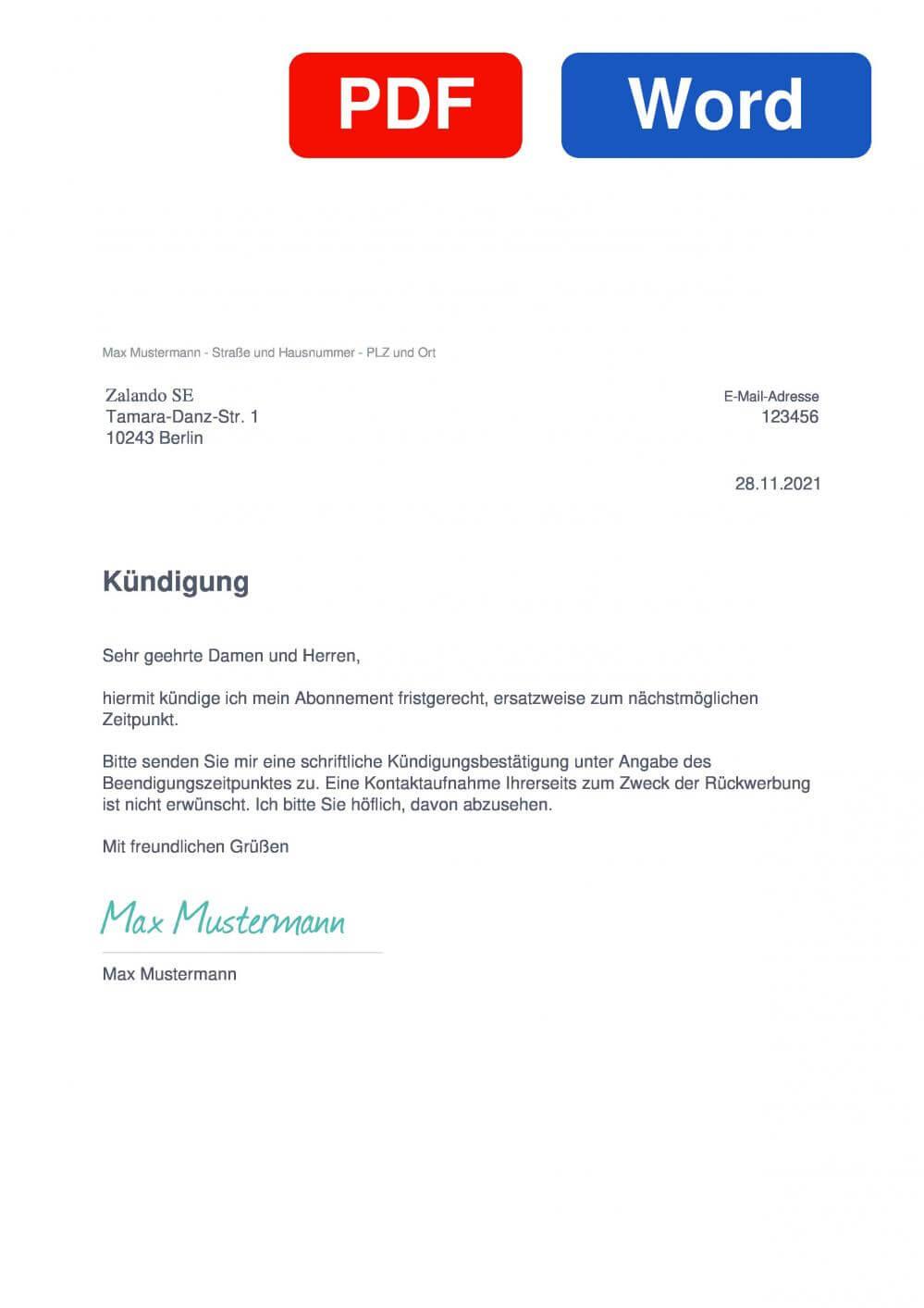 Zalando Plus Muster Vorlage für Kündigungsschreiben
