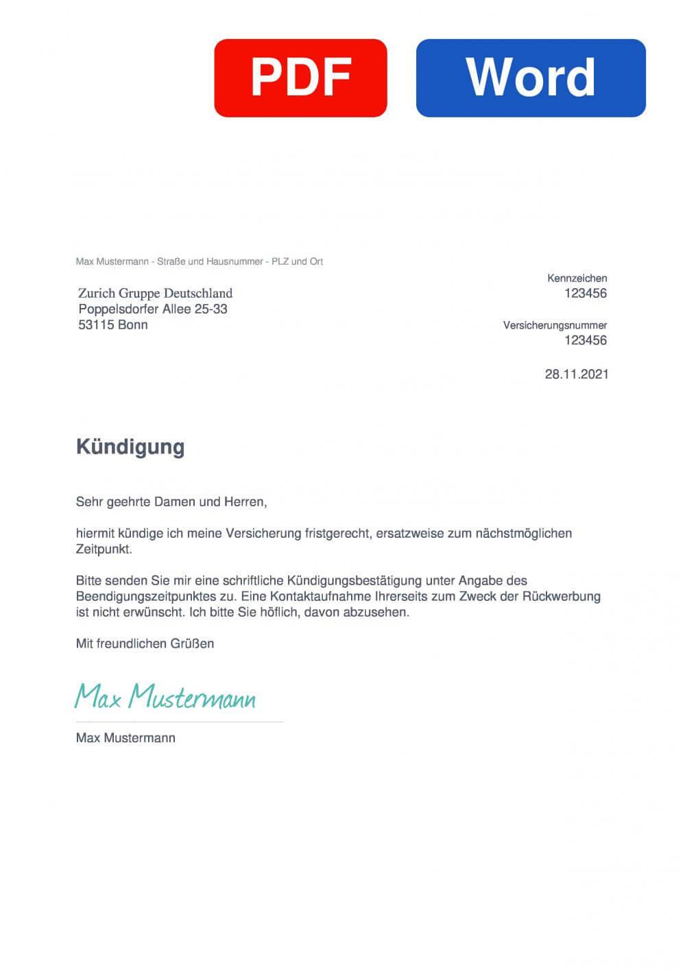 Zurich KFZ-Versicherung Muster Vorlage für Kündigungsschreiben