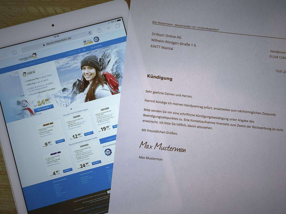 DeutschlandSIM Kündigungsschreiben ausgedruckt und versandfertig