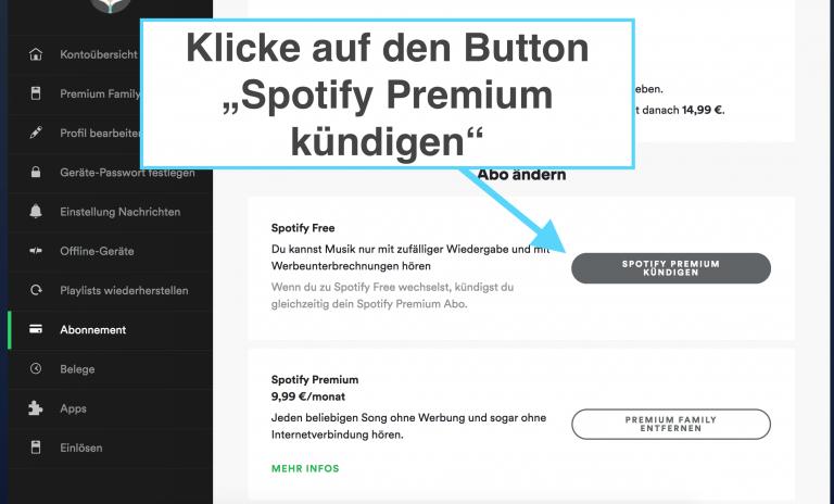 Schritt 5: Button Spotify kündigen klicken