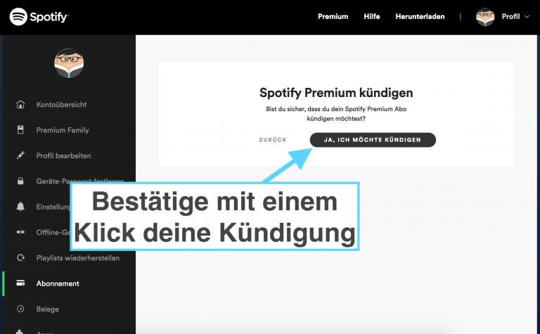 Spotify kündigen - Schritt 6: Kündigung bestätigen