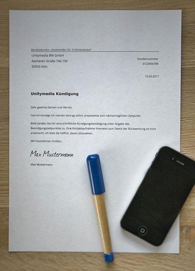 Kündigungsschreiben zum Unitymedia kündigen