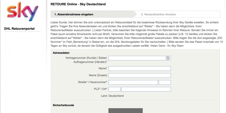 Sky Receiver zurueckschicken - Retoure Label