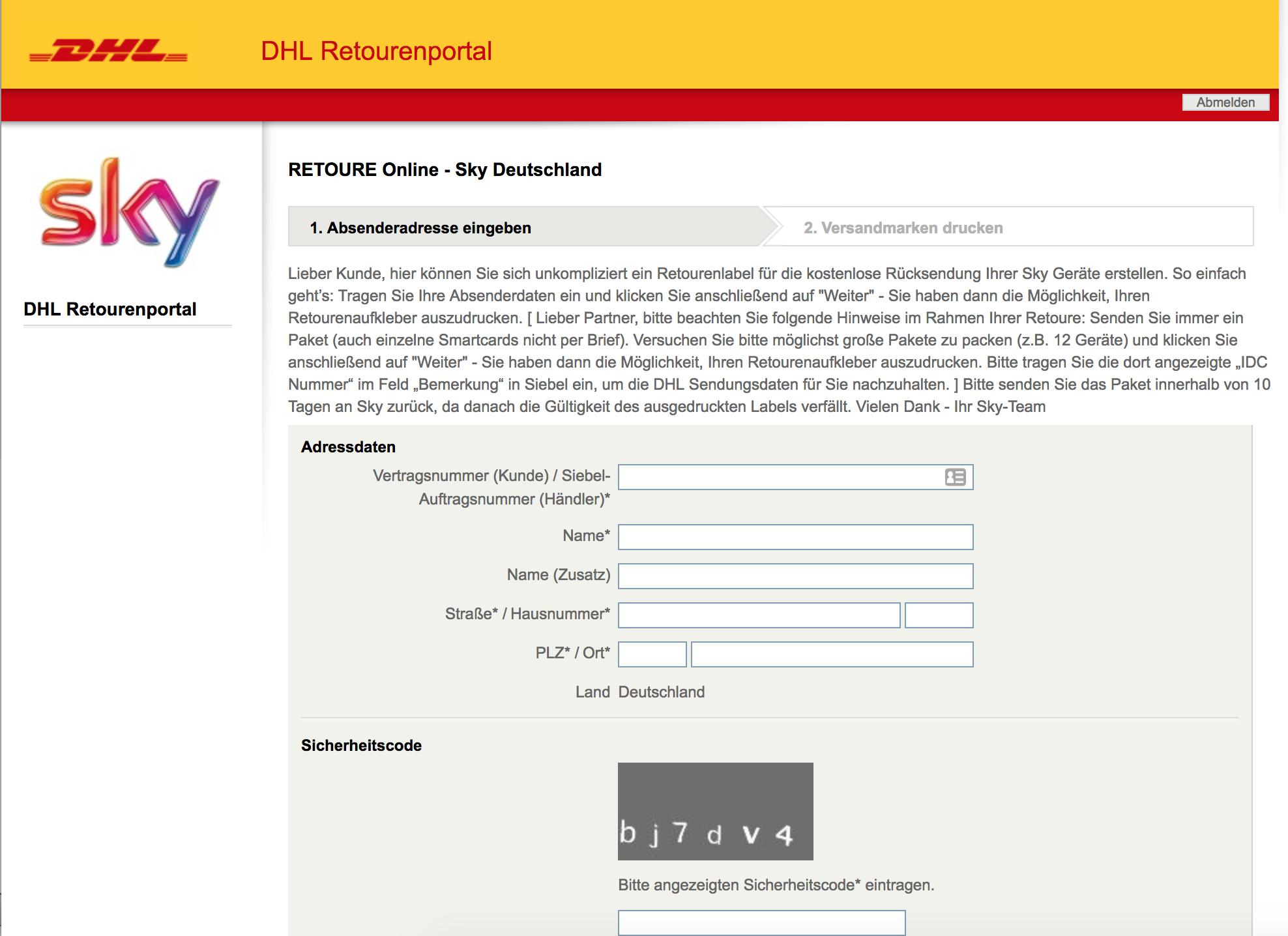 Sky Receiver Zuruckschicken Adresse Retourenlabel Und Inhalt