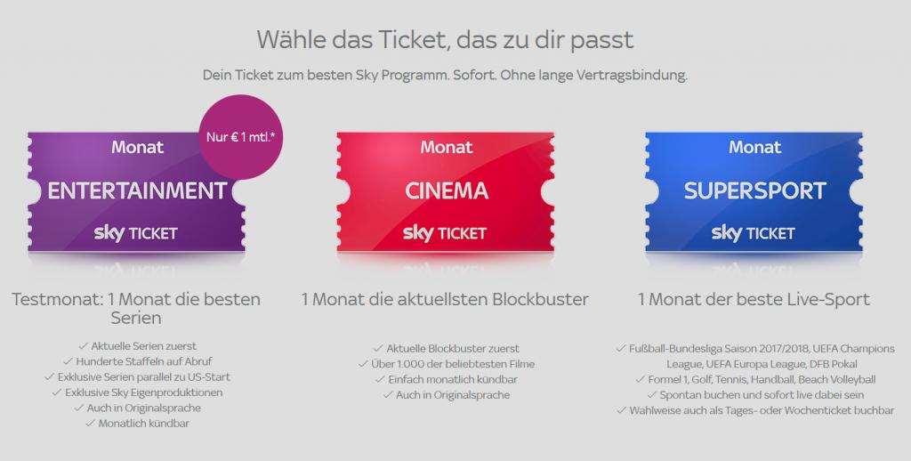 So funktionierts: die Sky Ticket Varianten Entertainment, Cinema und Supersport übersichtlich auf einen Blick