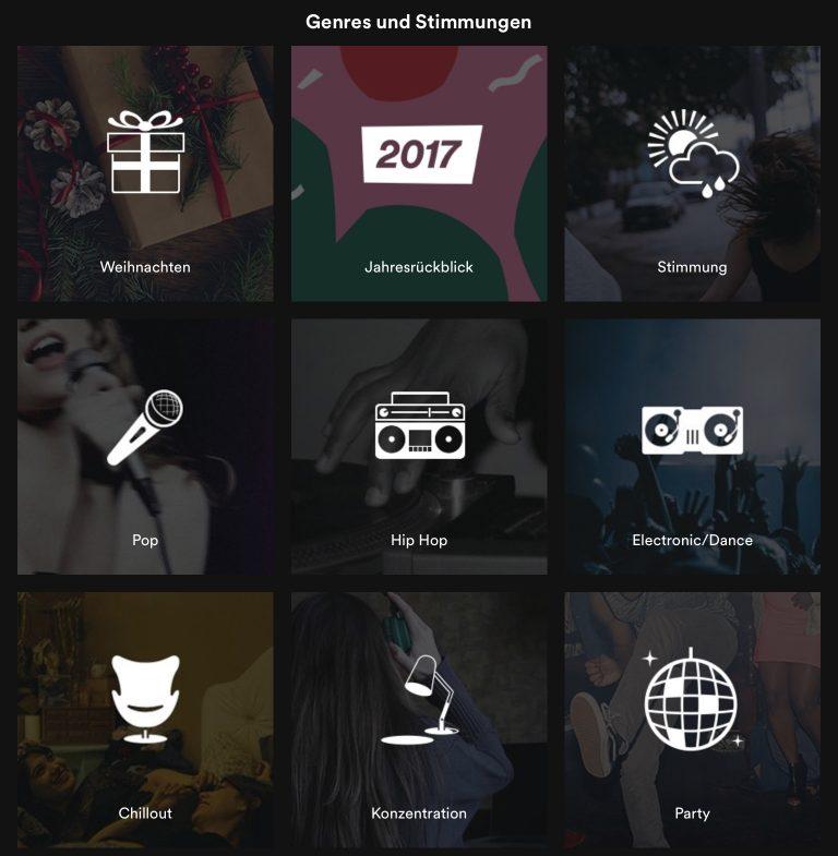 Übersicht Spotify Genres