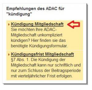 ADAC Kündigung Mitgliedschaft online